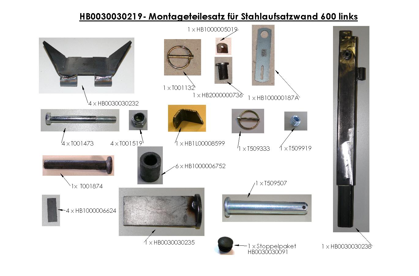 Brantner Kipper und Anhänger - assembly kit for steel attachment wall 600 left