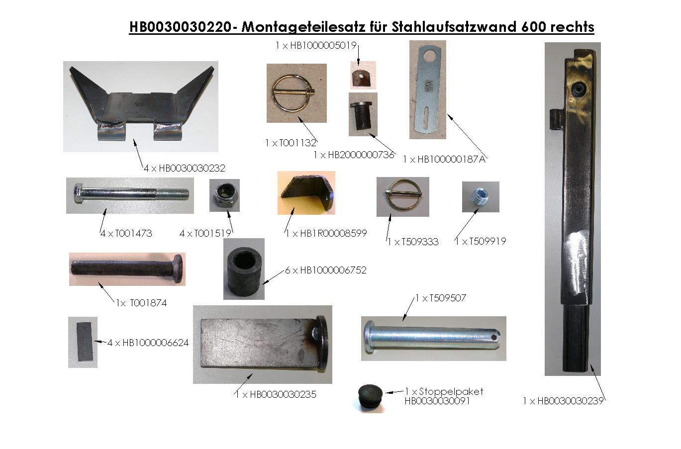 Brantner Kipper und Anhänger - Montageteilesatz für Stahlaufsatzwand 600 rechts