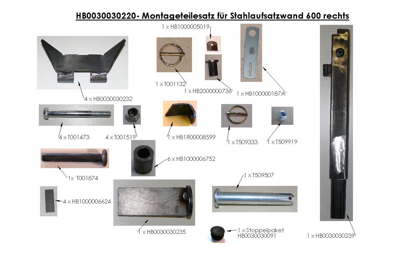 Brantner Kipper und Anhänger - assembly kit for steel attachment wall 600 right