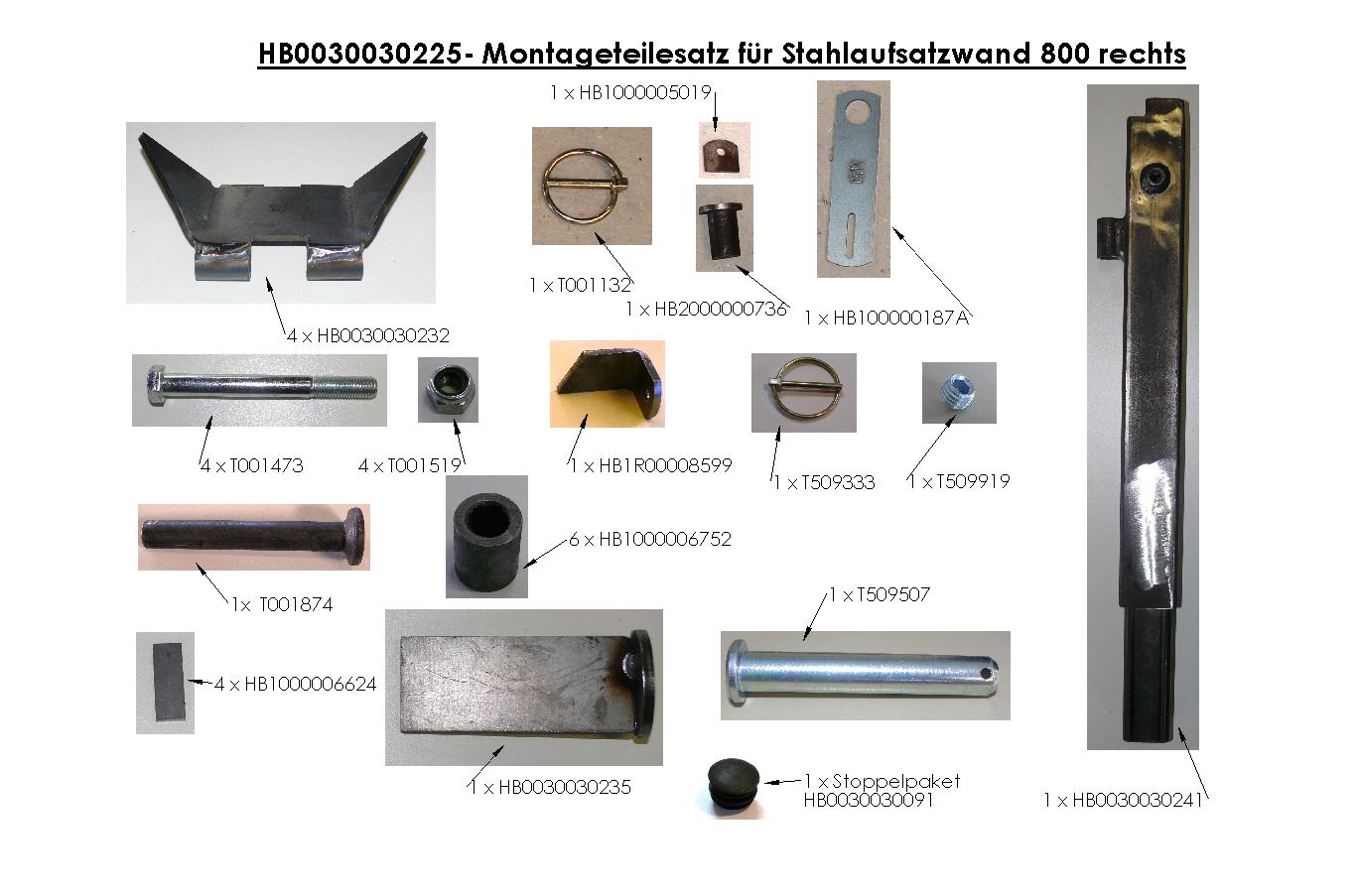 Brantner Kipper und Anhänger - assembly kit for steel attachment wall 800 right