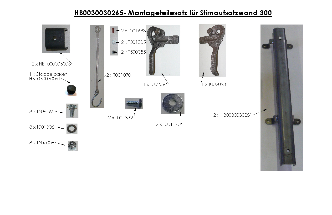 Brantner Kipper und Anhänger - assembly kit for front attachment wall 300