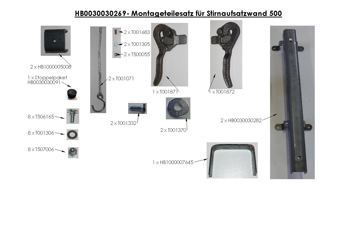 Brantner Kipper und Anhänger - Montageteilesatz für Stirnaufsatzwand 500