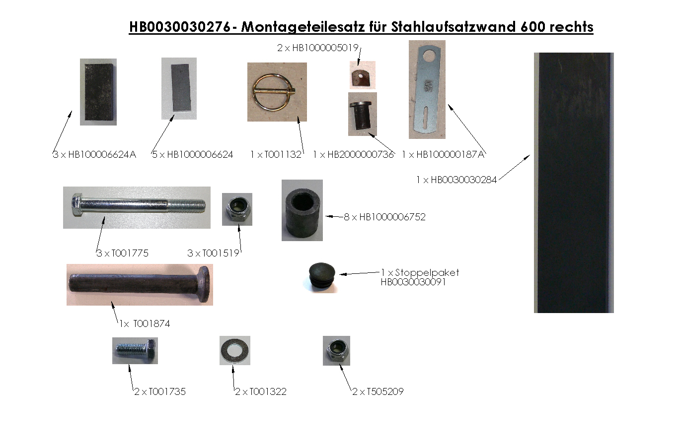 Brantner Kipper und Anhänger - assembly kit for steel attachment wall 600 right