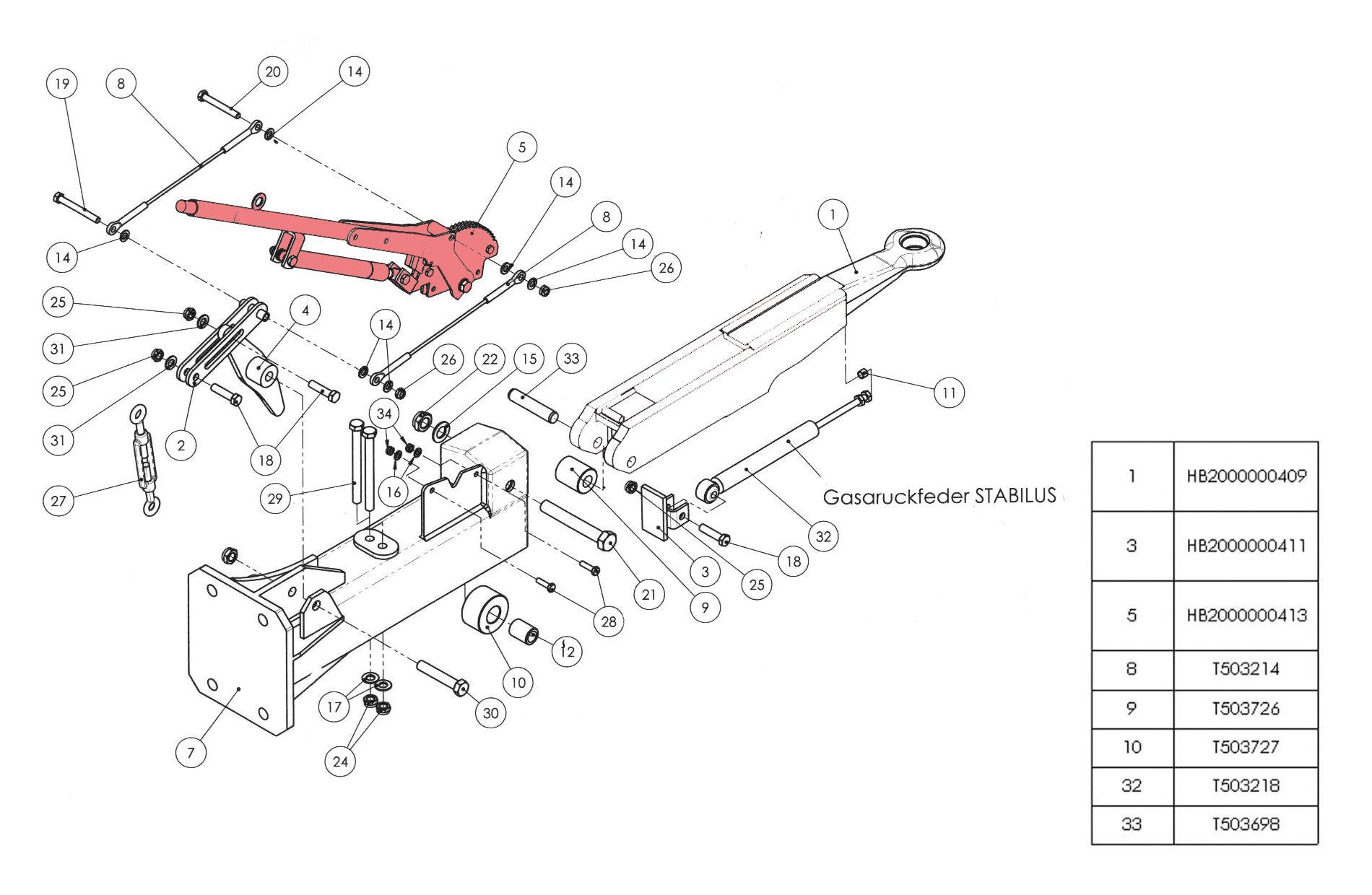 Brantner Kipper und Anhänger - 05 - handbreak lever for overrun device HB BAT