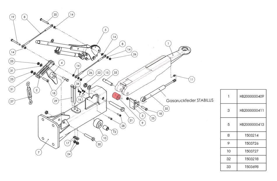 Brantner Kipper und Anhänger - Laufrolle hinten laut Zeichnung Nr. 991 - roh (9)