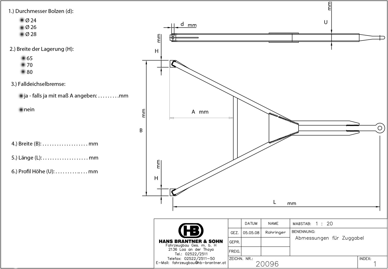 Brantner Kipper und Anhänger - Y-tow bar U65 - U-profile 65 mm high