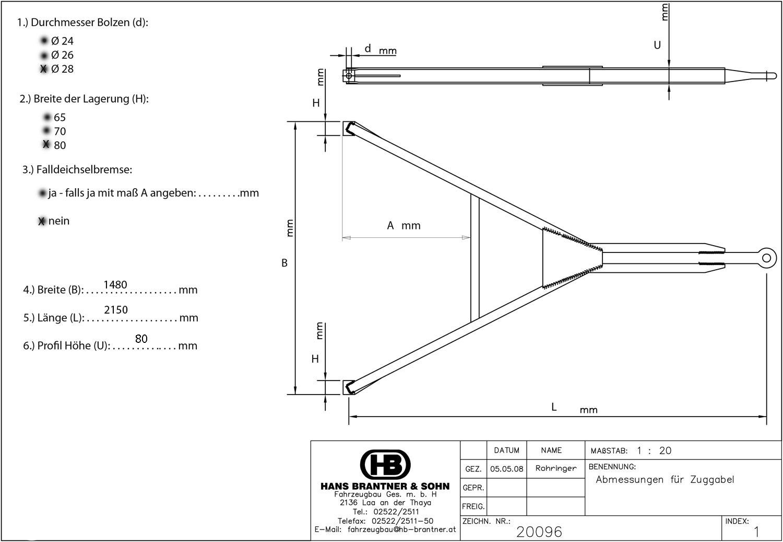 Brantner Kipper und Anhänger - Zuggabel U80 STANDARD 1400/80/28-2150
