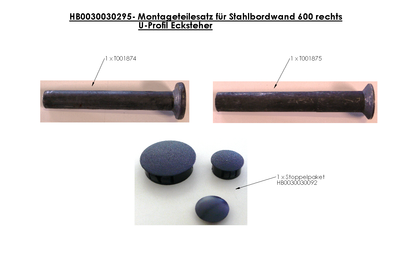 Brantner Kipper und Anhänger - assembly kit for steel sideboard wall 600 right