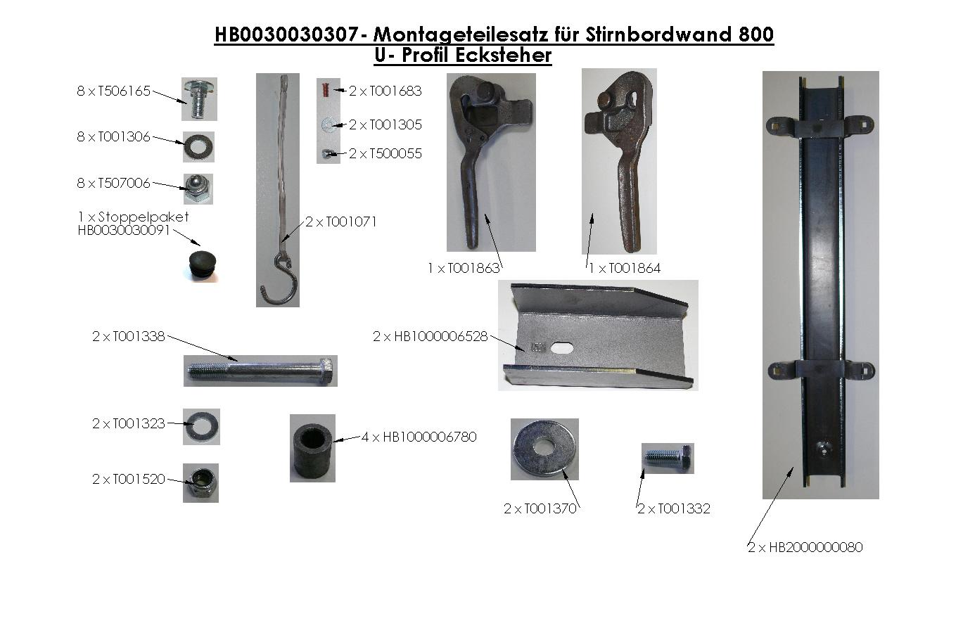 Brantner Kipper und Anhänger - Montageteilesatz für Stirnbordwand 800