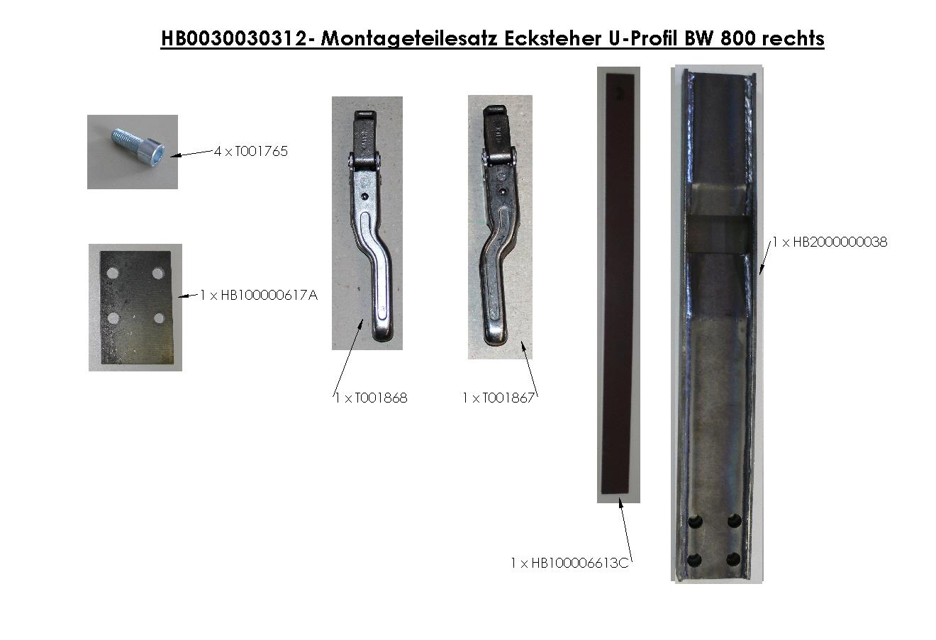 Brantner Kipper und Anhänger - Montageteilesatz Ecksteher U-Profil BW 800 rechts