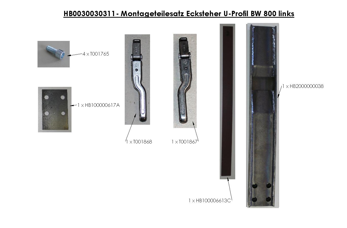 Brantner Kipper und Anhänger - Montageteilesatz Ecksteher U-Profil BW 800 links
