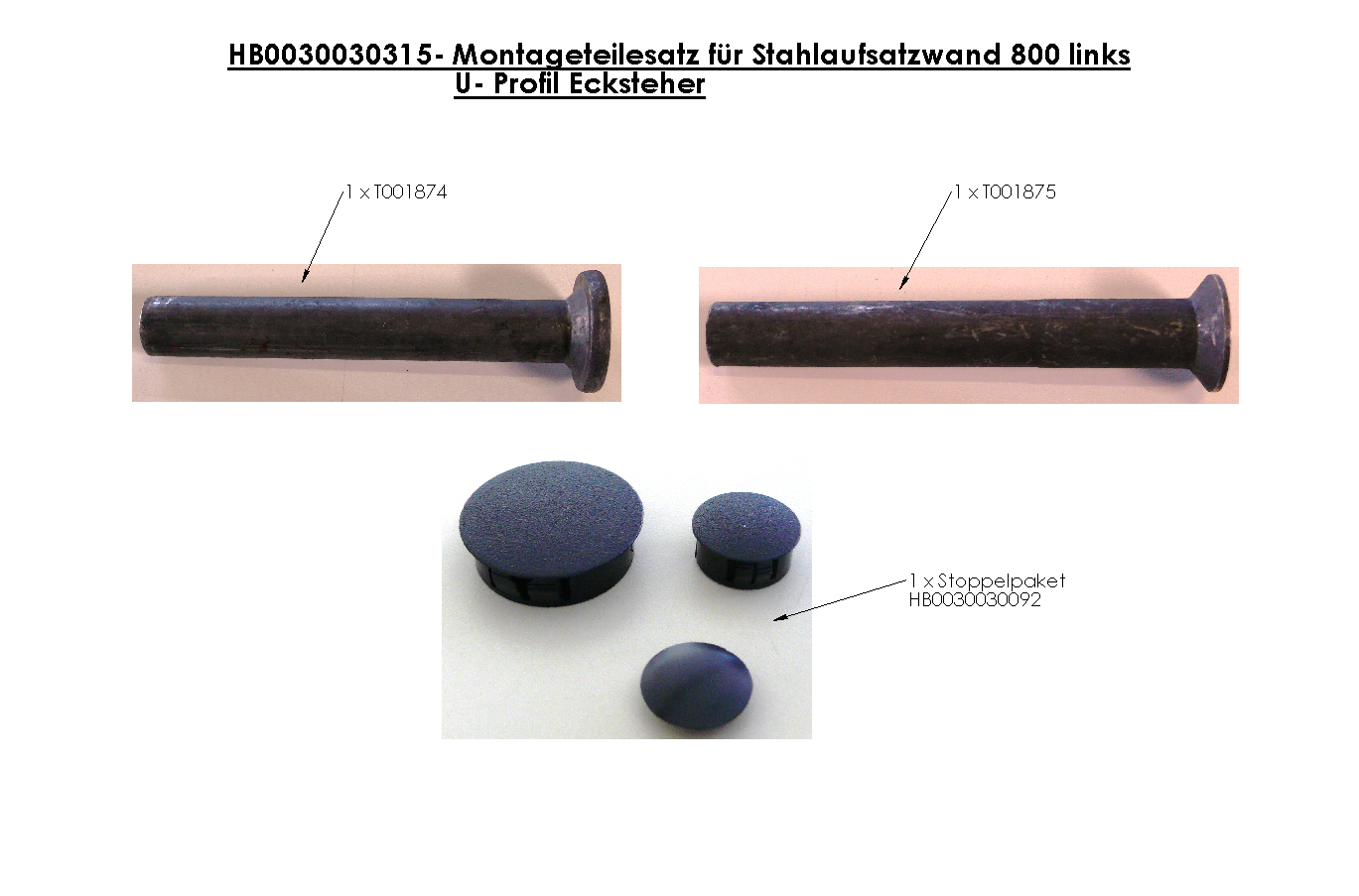 Brantner Kipper und Anhänger - assembly kit for steel attachment wall 800 left