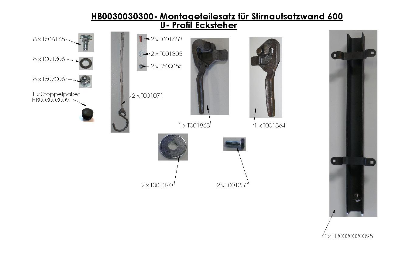 Brantner Kipper und Anhänger - Montageteilesatz für Stirnaufsatzwand 600