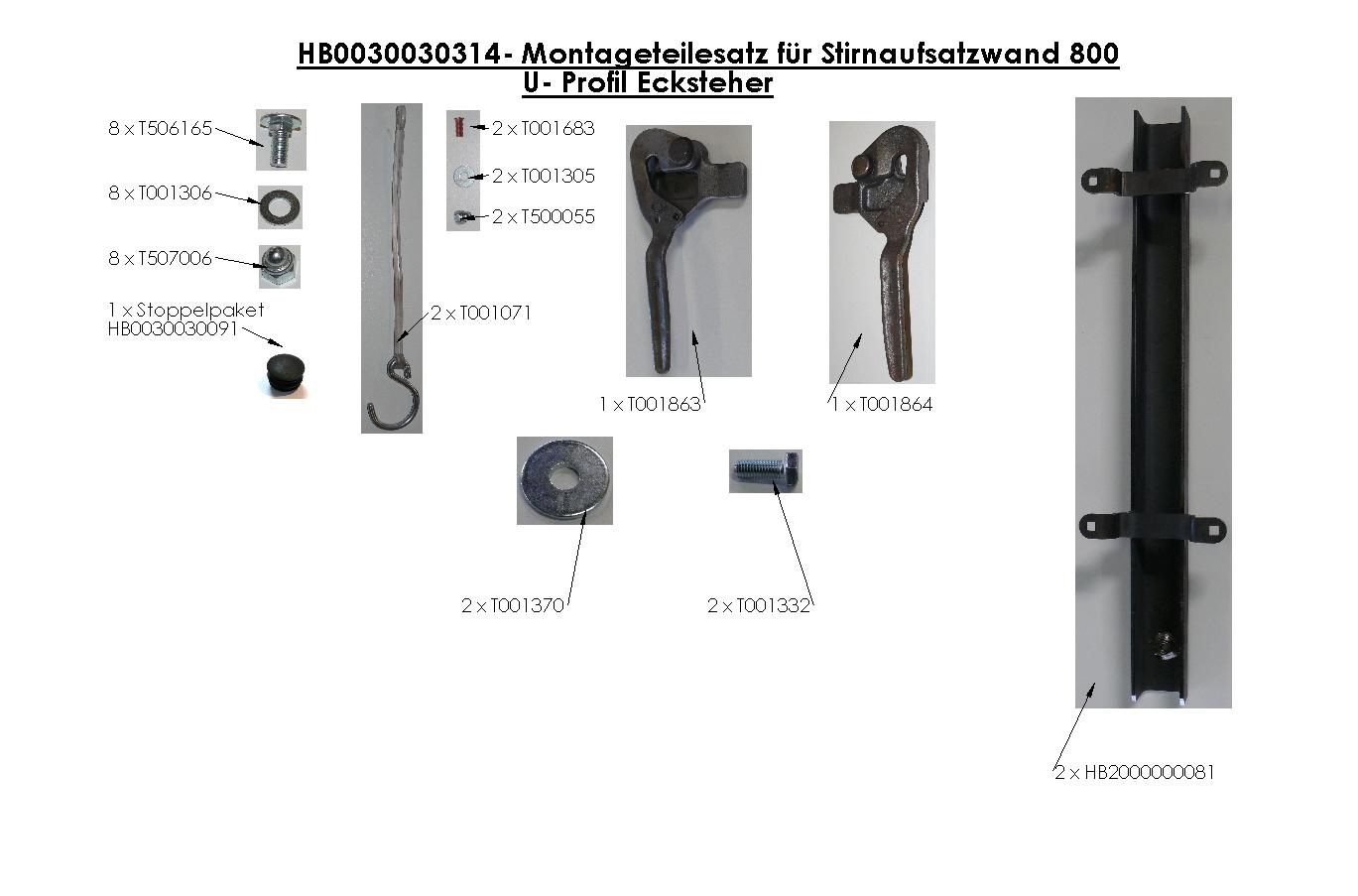 Brantner Kipper und Anhänger - Montageteilesatz für Stirnaufsatzwand 800