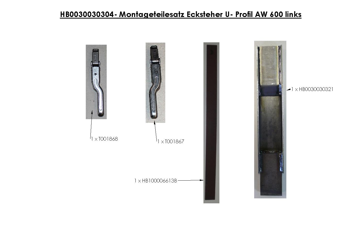 Brantner Kipper und Anhänger - Montageteilesatz Ecksteher U-Profil AW 600 links