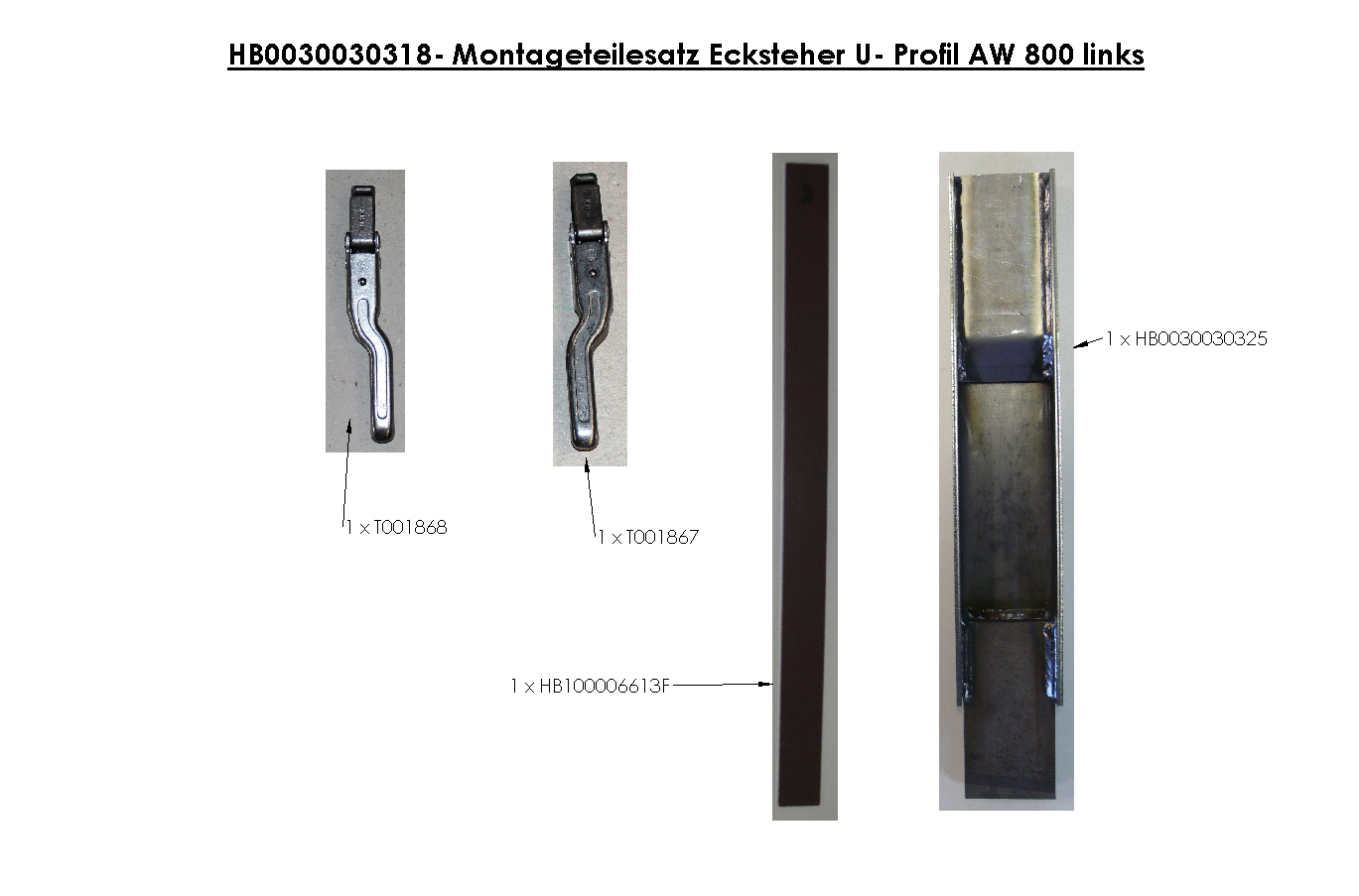 Brantner Kipper und Anhänger - assembly kit U-profile 113 x 50 corner stanchion