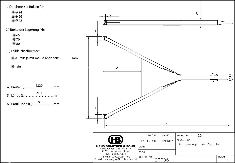 Brantner Kipper und Anhänger - Zuggabel U80 STANDARD 1250/70/26-2000