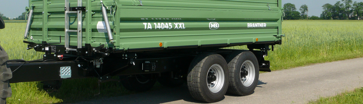 The TA14045/2XXL Tandem-threesidetipper produced by Brantner trailer and tipper production Austria.